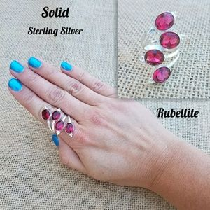 Jewelry - 💋NEW Sterling Silver Rubellite Ring Adjustable